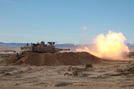 Soldiers in the M1A2 Abrams tank prepares to fire its main weapon at targets while conducting live-fire exercises during Decisive Action Rotation 19-03 at the National Training Center, Fort Irwin, Calif., Jan. 25, 2019. Decisive Action Rotations at the NTC ensures Army Brigade Combat Teams remain versatile, responsive, and consistently available for current and future contingencies.