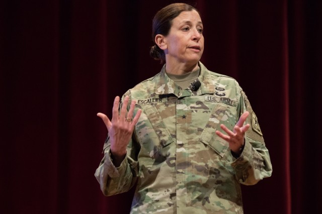 Brig. Gen. Susan Escallier, assistant U.S. Army judge advocate general (JAG), military law and operations, briefs on the state of the JAG corps at the U.S. Army Reserve Legal Command South Eastern Region On-Site Legal Training (OSLT) at Fort Benning, GA, Feb. 23. This OSLT marks the first Army legal training event where Army, Army Reserve, and National Guard judge advocates and paralegals are conducting training together (U.S. Army Reserve photo by Maj. Jeku Arce, U.S. Army Reserve Legal Command).