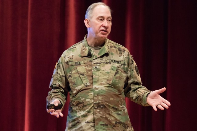 Brig. Gen. Daniel Hill, National Guard adviser to the U.S. Army judge advocate general, gives an interoperability overview between National Guard, U.S. Army, and U.S. Army Reserve during a presentation at the U.S. Army Reserve Legal Command South Eastern Region On-Site Legal Training (OSLT) at Fort Benning, GA, Feb. 23. This OSLT marks the first Army legal training event where Army, Army Reserve, and National Guard judge advocates and paralegals are conducting training together (U.S. Army Reserve photo by Maj. Jeku Arce, U.S. Army Reserve Legal Command).
