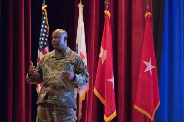 Brig. Gen. Ural Glanville, U.S. Army Reserve Legal Command (USARLC) commanding general, gives his opening remarks at the USARLC South Eastern Region On-Site Legal Training (OSLT) at Fort Benning, GA, Feb. 22. This OSLT marks the first Army legal training event where Army, Army Reserve, and National Guard judge advocates and paralegals are conducting training together (U.S. Army Reserve photo by Maj. Jeku Arce, U.S. Army Reserve Legal Command).