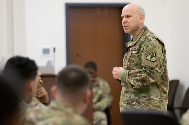 Command Sgt. Maj. Marcus Montoya, U.S. Army Reserve Legal Command (USARLC) senior enlisted adviser, gives a brief to paralegals and civilians at the USARLC South Eastern Region On-Site Legal Training (OSLT) at Fort Benning, GA, Feb. 22. This OSLT marks the first Army legal training event where Army, Army Reserve, and National Guard judge advocates and paralegals are conducting training together (U.S. Army Reserve photo by Maj. Jeku Arce, U.S. Army Reserve Legal Command).