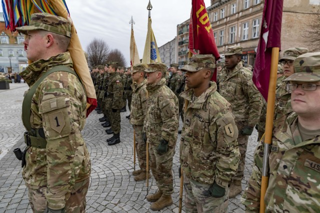 SKWIERZYNA, Poland (Feb. 23, 2019) — A platoon of Soldiers from 101st Brigade Support Battalion, 1st Armored Brigade Combat Team, 1st Infantry Division, attend a ceremony in support of 61 Polish cadets taking an oath to defend and serve their country, in the town center.