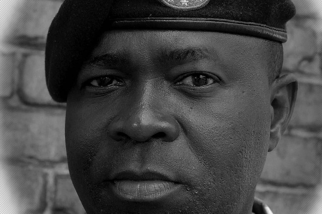 Spc. Momo Larmena Jr. in 2007 after graduating from the 92W Water Treatment Specialist Course, U.S. Army Quartermaster School, at Fort Lee. The Liberian native, whose descendants are from the U.S., is now an ordained minister and Army Reserve chaplain.