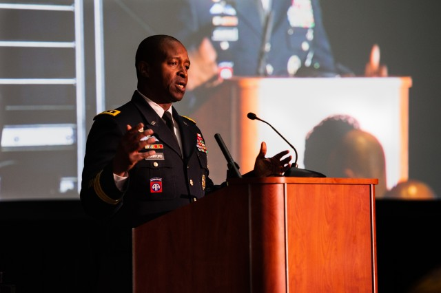 As the keynote speaker during the Historically Black College and University Festival in Washington, D.C., Lt. Gen. Bruce Crawford, the Army's chief information officer, G-6, shared his personal story to a large group of high school students and their families, Feb. 23, 2019. Over 16,000 students and 70 HBCUs registered for this event.