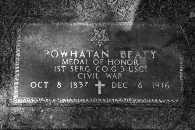Powhatan Beaty, born a slave on Oct. 8, 1837, at Richmond, Richmond County, Virginia, later moved to Cincinnati and became free. He earned the Medal of Honor for his heroics at the Battle of Chaffin's Farm in 1864 during the Civil War. Beaty is buried in the Baptist Cemetery at Cincinnati.