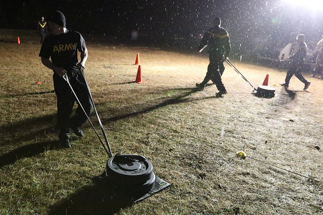 Virginia National Guard Soldiers endure the Army Combat Fitness Test during the second day of the 2019 Virginia National Guard Best Warrior Competition Feb. 23, 2019, at Fort Pickett, Virginia. (U.S. National Guard photo by Cotton Puryear)