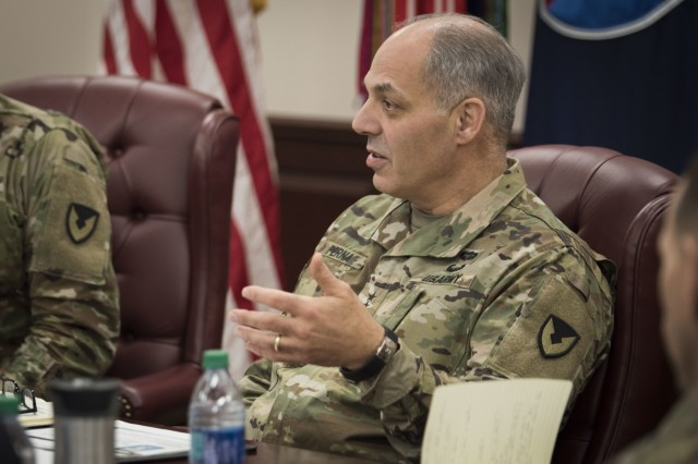 Gen. Gustave F. Perna, commanding general, U.S. Army Materiel Command, talks about his current vision for reform during a quarterly update at U.S. Army Sustainment Command headquarters, Rock Island Arsenal, Ill., Feb. 26.