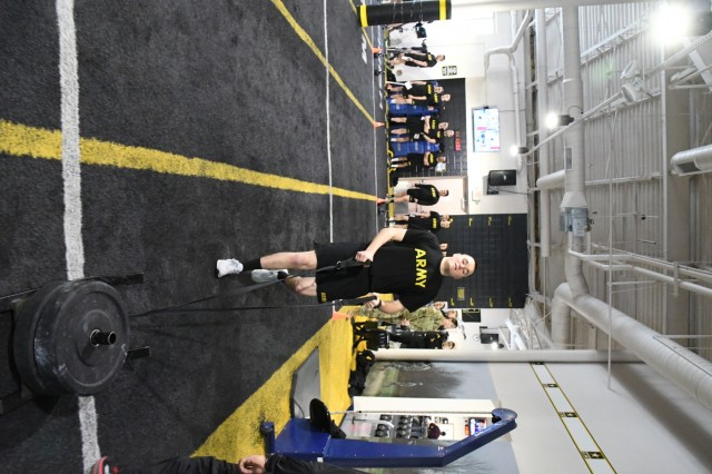 Soldiers from 1st Battalion, 87th Infantry Regiment, 1st Brigade Combat Team, were pulling weighted sleds, running with kettlebells and cranking out deadlifts at the gym one recent frosty morning at Fort Drum in preparation for the Army Combat Fitness Test. While awaiting for the snow and ice to dissipate and temperatures return to above freezing, Soldiers are taking every advantage of indoor training grounds and support staff to ready themselves for the new fitness test. (Photo by Mike Strasser, Fort Drum Garrison Public Affairs)