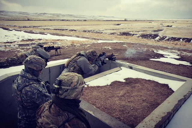 Test Snipers engage targets in depth at ranges varying from 300 to 1,000 meters from a standing supported position during the Compact, Semi-Automatic Sniper Rifle (CSASS) operational test at Fort Carson, Colo.