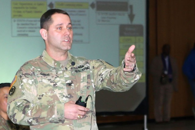Col. Phillip K. Gage, commander of U.S. Army Garrison Japan, answers questions from Soldiers, civilian employees and their families regarding various housing issues during a town hall Feb. 27 at Camp Zama as part of an ongoing Army-wide effort to resolve unsatisfactory conditions in Army family housing.
