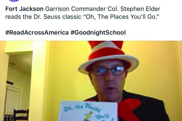 Col. Stephen Elder, Fort Jackson's garrison commander, reads to children on Facebook live as part of the Goodnight School series.