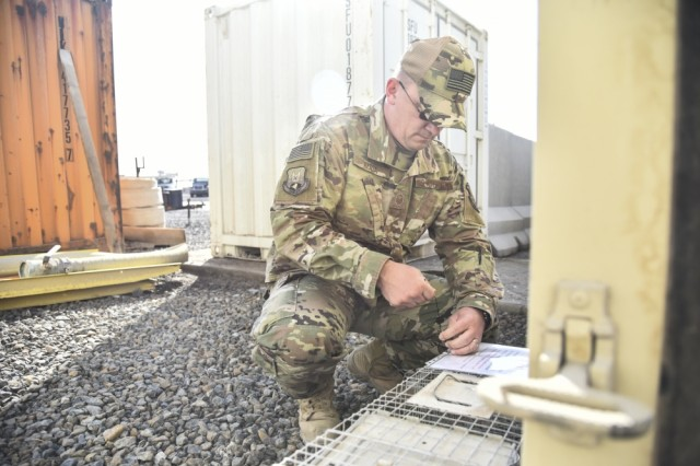 Master Sgt. Robert Rzasa, 380th Expeditionary Civil Engineer Squadron NCO in charge of pest management, labels a trap at Al Dhafra Air Base, United Arab Emirates, Feb. 18, 2019. Through the power of team work, the Airmen and Soldiers from ADAB and Camp Arifjan, came together to benefit the quality of life for all service members, and even the wild animals.
