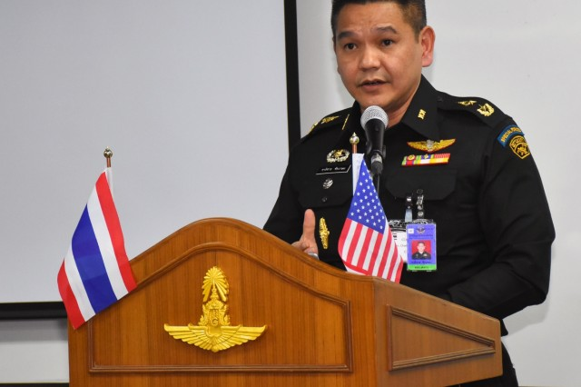 Maj. Gen. Chartchai Chaigasam address the audience during the first-ever cyberspace field training exercise as part of Exercise Cobra Gold in Bangkok, Kingdom of Thailand, Feb. 12, 2019
