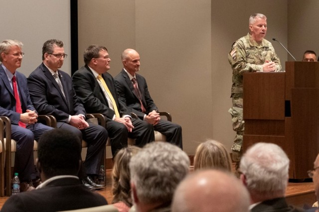 Lt. Gen. Todd Semonite, 54th Chief of Engineers and Commanding General, U.S. Army Corps of Engineers, presides over the Senior Executive Service Induction Ceremony held at the U.S. Army Engineer Research and Development Center in Vicksburg, Miss.