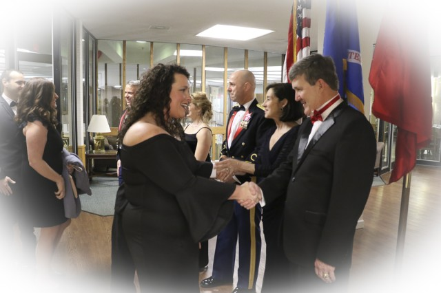 Colonel Jason Evers, Commander, Huntington District,  and his wife Salliejo as well as the Military Ball Guest Speaker, Mac Warner, Secretary of State, West Virginia and his wife Debbie, greet guests in the receiving line marking the start of the evening.
