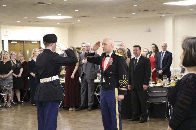 Colonel Jason Evers gives permission to post the colors to the Commander of the Color Guard. The Color Guard consisted of Cadets from the Marshall University ROTC Program.