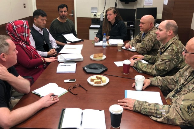USACE team meets with USAID members February 28 in Kabul, Afghanistan.