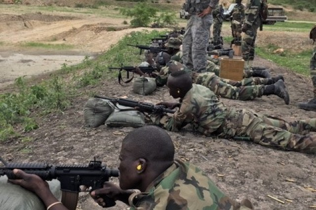 Soldiers from the Vermont National Guard train members of the Senegalese army on the M4 carbine as part of an expedited foreign military sales case.