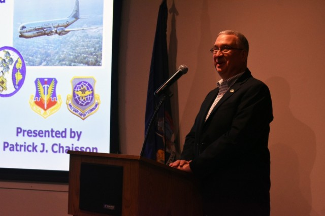 """Retired New York Army National Guard Maj. Patrick Chaisson, now an author and historian, gives a presentation on the combat service of the New York Air National Guard in the Vietnam War at the New York State Military History Museum in Saratoga Springs, N.Y., Feb. 23, 2019. Chaisson was inspired by his father, an Airman in the National Guard during the Vietnam War. The museum recently opened a new permanent exhibit, """"Hot Spots in the Cold War,"""" with artifacts of New York's role in the Vietnam War as part of the Vietnam War 50th Anniversary commemoration."""