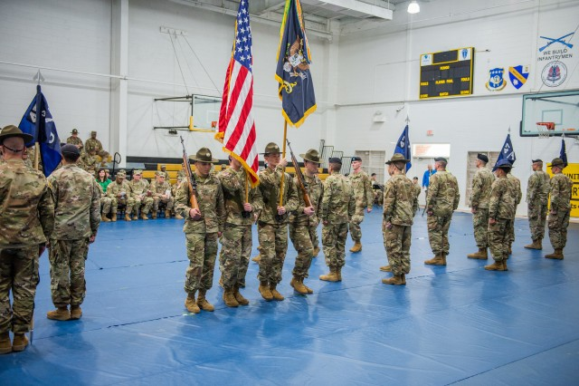 Fort Benning Soldiers participate in the activation ceremony of the 3rd Battalion, 47th Infantry Regiment, March 1 at Santiago Fitness Center in the Sand Hill area of Fort Benning. The battalion will help the Maneuver Center of Excellence prepare trainees for service in the Infantry under the Army's new, longer One Station Unit Training.