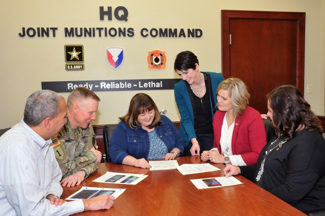 JMC senior leadership and G1 staff collaborate on the command's Human Capital Strategic Plan which promotes personal standards and organizational success. From L to R: Norbert Herrera, Deputy Chief of Staff, G1; Col. Dave Brown, JMC Chief of Staff; JoEtta Fisher, JMC Executive Director for Ammunition and Deputy to the Commander; Heather Tahja, Human Resources Specialist, G1; Michelle Timmerman, Supervisory Program Specialist, G1; and Jennifer Mehmert, Personnel Development, G1.