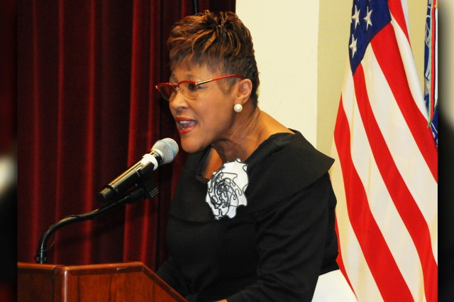 Dr. Irma Townsend, assistant superintendent with Colquitt County Schools in Georgia and Auburn University graduate, speaks during the Fort Rucker Black History Month Luncheon Feb. 26.