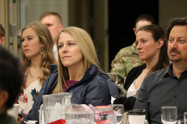 An audience member listens to a presentation at the 10th annual Lt. Col. Juanita Warman Nursing Excellence Conference hosted by Madigan Army Medical Center's Medical-Surgical Nursing Service Feb. 22 at the American Lake Conference Center on Joint Base Lewis-McChord, Wash.
