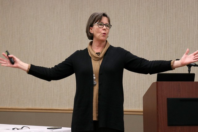 Dr. Tammy Bhang shares insights into palliative care nursing practice at the 10th annual Lt. Col. Juanita Warman Nursing Excellence Conference hosted by Madigan Army Medical Center's Medical-Surgical Nursing Service Feb. 22 at the American Lake Conference Center on Joint Base Lewis-McChord, Wash.