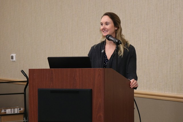 First Lt. Kelsey Gaoaen presents research on a quality improvement project focused on interdisciplinary bedside rounding at the 10th annual Lt. Col. Juanita Warman Nursing Excellence Conference hosted by Madigan Army Medical Center's Medical-Surgical Nursing Service Feb. 22 at the American Lake Conference Center on Joint Base Lewis-McChord, Wash.