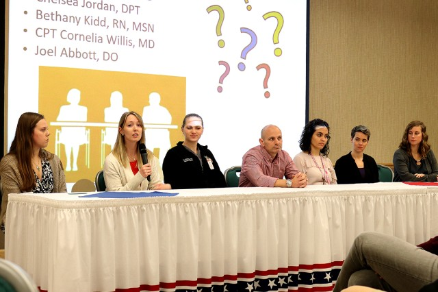 An interdisciplinary panel of Madigan clinicians involved in a quality improvement project focused on interdisciplinary bedside rounding fields questions at the 10th annual Lt. Col. Juanita Warman Nursing Excellence Conference hosted by Madigan Army Medical Center's Medical-Surgical Nursing Service Feb. 22 at the American Lake Conference Center on Joint Base Lewis-McChord, Wash.
