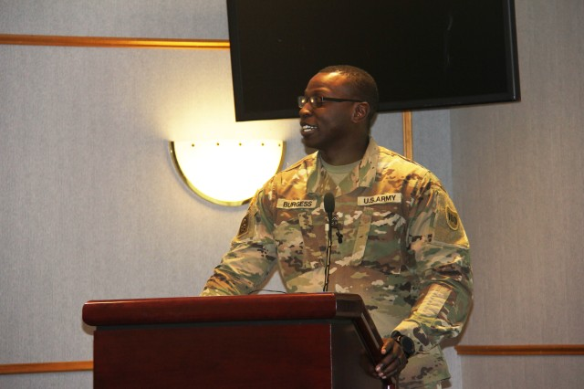 First Sgt. Desmond M. Burgess with the Fort McCoy Noncommissioned Officer Academy speaks to Fort McCoy, Wis., community members during the post Black History Month observance Feb. 20, 2019, at McCoy's Community Center. Burgess' talk focused on Booker T. Washington, an educator and African-American leader during the post-Reconstruction era who was born into slavery. (U.S. Army Photo by Aimee Malone, Public Affairs Office, Fort McCoy, Wis.)