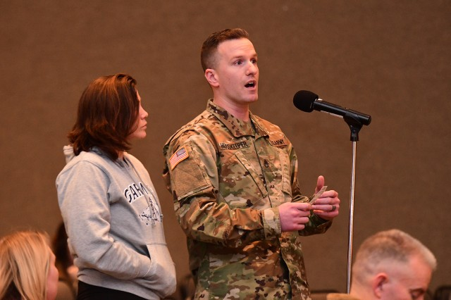 A Fort Knox couple explains several issues they have had since living in on-post housing during the March 4, 2019 listening session in Waybur Theater.