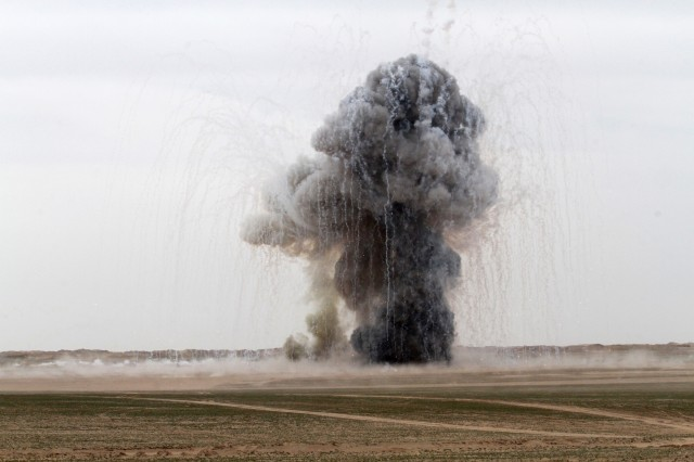 More than 6,800 pounds of unserviceable ammunition explodes in the Udairi Range, Kuwait, Feb. 27, 2019. The controlled detonation was organized by the 705th Explosive Ordnance Disposal Company, Task Force Hellhound, Task Force Spartan.