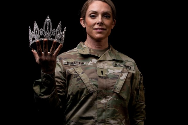 First Lieutenant Angela DiMattia, assigned to 52nd Brigade Engineer Battalion, 2nd Infantry Brigade Combat Team, 4th Infantry Division poses for a photo at the Headquarters and Headquarters Battalion performance center, Fort Carson, Colo., Feb. 12, 2019, after winning the title of United States of America's Ms. Colorado. The competition was designed to empower women, promote positive self-image and advocate platforms of community service.