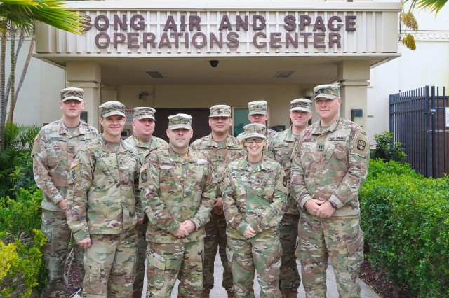 Soldiers from the 94th Army Air and Missile Defense Command, Army Air Defense Artillery Fire Control Officers (ADAFCOs) section take a group photo after honing their gunnery skills while participating in Resilient Shield 19, February 22-March 1, 2019. (U.S. Army Photo by Sgt. Malcom Cohens)