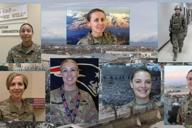 The women highlighted in this article are -- starting from top-center going clockwise -- Maj. Korneliya Waters, Kimberley Anne Hernandez, Lt. Col. Jennifer Gotie, Capt. Kritina Hoffman, Lt. Col. Meghann Sullivan, Christine Byrd, and Staff Sgt. Georgia Soto. (Photo illustration by Jon Micheal Connor, Army Public Affairs)