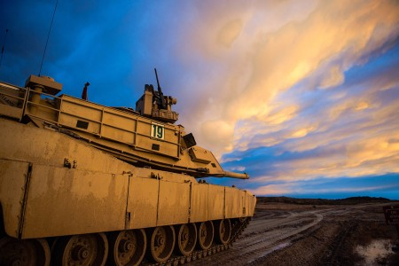 Idaho Army National Guard Soldiers conducts platoon live-fire gunnery qualification, Feb.14, 2019, at the Orchard Combat Training Center, Idaho.