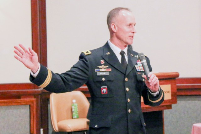 U.S. Army Corps of Engineers Deputy Commanding General Maj. Gen. Michael C. Wehr gives the opening remarks for the Bilateral Senior Engineer Conference in Tokyo, Japan.