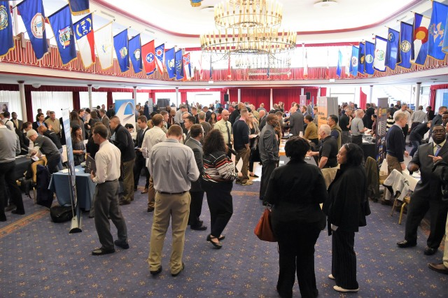 Transitioning service members, veterans and military spouses engage with human resources experts from national-level companies at last year's Career Summit. This year's Hiring Our Heroes sponsored European Career Summit takes place April 3 and 4 at Armstrong's Club.