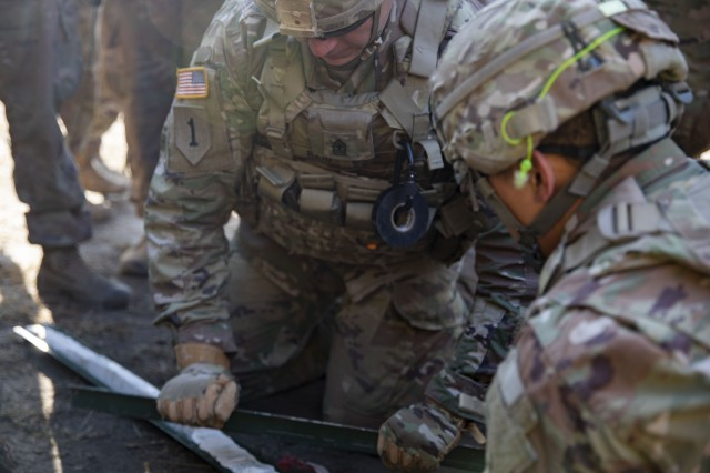Soldiers from, 1st Engineer Battalion, 1st Armored Brigade Combat Team, 1st Infantry Division, prepare C4 explosives during live fire explosives training at Joanna range, here, March 6, 2019. The Devil Brigade is part of more than 6,000 U.S. regionally-allocated Soldiers in Bulgaria, Estonia, Hungary, Latvia, Lithuania, Poland and Romania, on a nine-month rotation, in support of Atlantic Resolve.