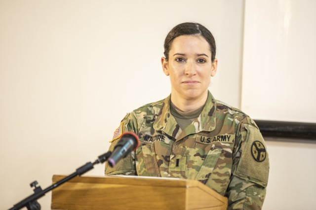 1st Lt. Caitlin Maguire, Tennessee National Guard, speaks at the International Forum Regarding Gender Politics in the Defense Sector in Lviv, Ukraine, March, 5.