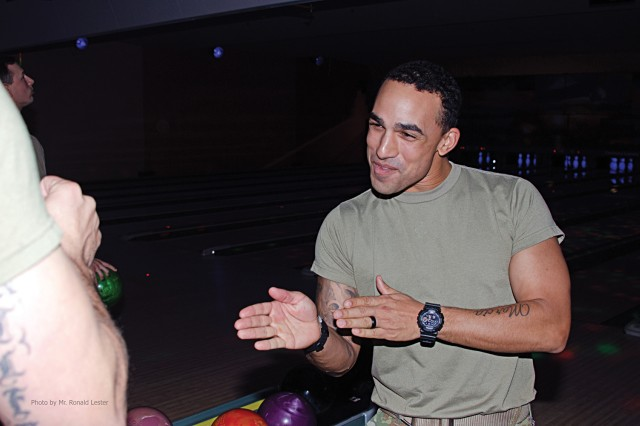 Following the March 1 kickoff of this year's Army Emergency Relief campaign at Century Lanes, attending Soldiers are given the afternoon off to play a few games in a bowling tournament against other units.