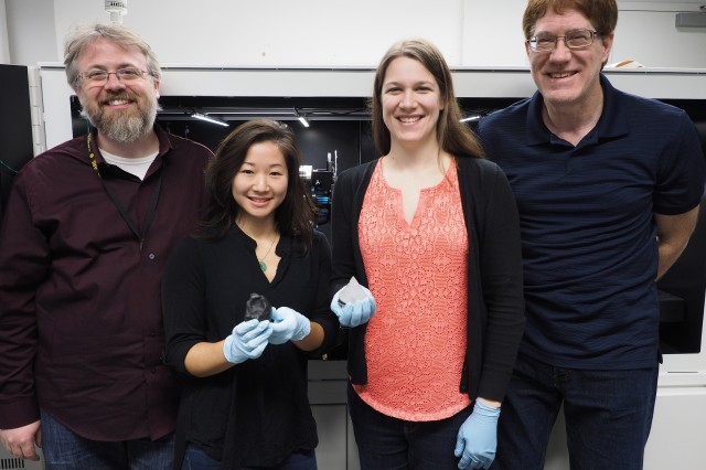 From left to right: Army researchers Dr. Tim Walter, Jessica Sun, Dr. Jennifer Sietins and Bill Green pose with Martian meteorite samples.