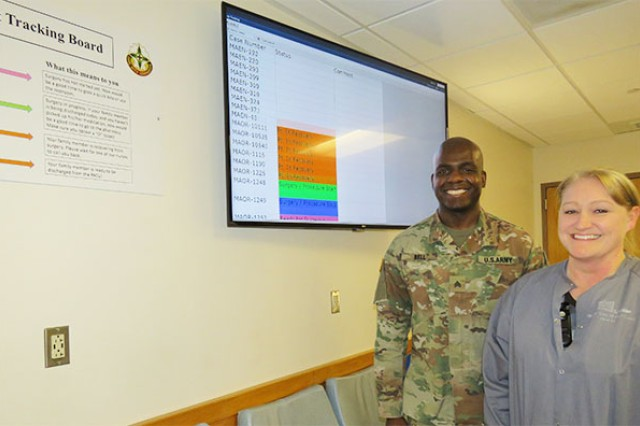 The new surgery patient tracking board at Madigan Army Medical Center went live in late January due to the efforts of a collaborative team, including Sgt. Joseph Bell and Maj. Kelly Shamlian, both with Madigan's Post-Anesthesia Care Unit.