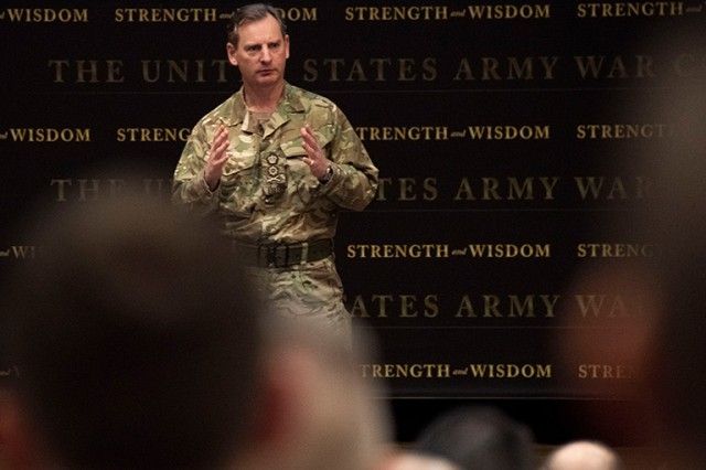 General Sir Mark Alexander Carleton-Smith, Chief of the General Staff of the British Army, underscored the commitment, capability and like-mindedness of the U.K. and U.S. relationship at the Army War College, March 6, 2019.