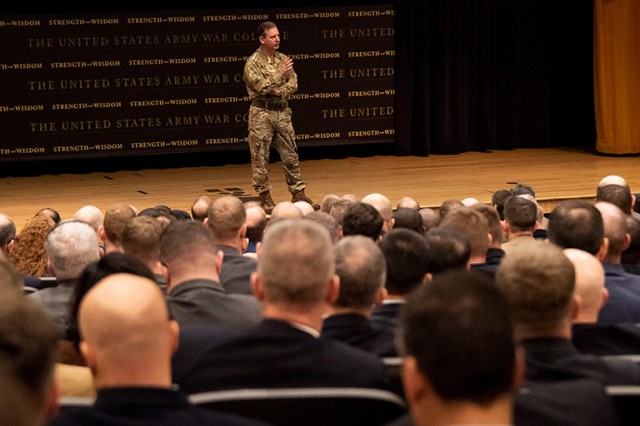 General Sir Mark Alexander Carleton-Smith, Chief of the General Staff of the British Army, answered student questions on topics such the implications of artificial intelligence and autonomous weapons at the Army War College, March 6, 2019.