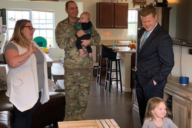 Under Secretary of the Army Ryan D. McCarthy, right, visits the home of a military family at Fort Jackson, S.C., Feb. 21, 2019. Senior leaders have recently visited several Army installations to hear concerns about military housing.