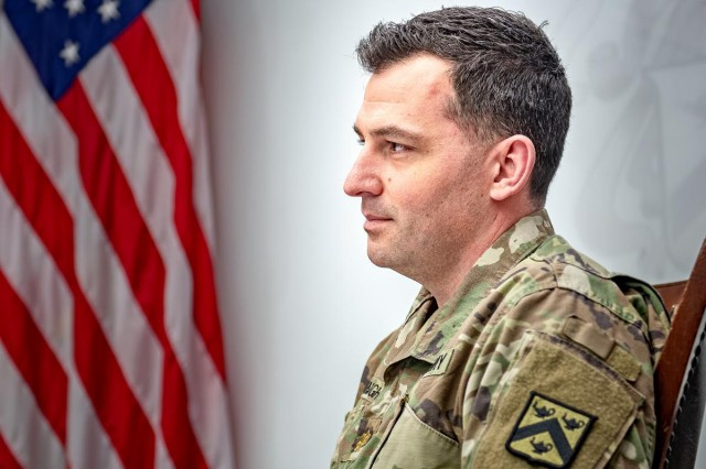 Maj. Karl D. Buckingham, a Command and General Staff Officer's Course student, provided first aid to a gunshot victim at his North Kansas City apartment building on Feb. 24, 2019. Buckingham was recommended for a Soldier's Medal for his actions.