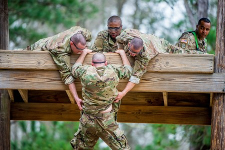 Trainees negotiate a confidence course on Sand Hill, Feb. 27, 2019, at Fort Benning, Ga. The mission is to transform civilians into disciplined Infantrymen.