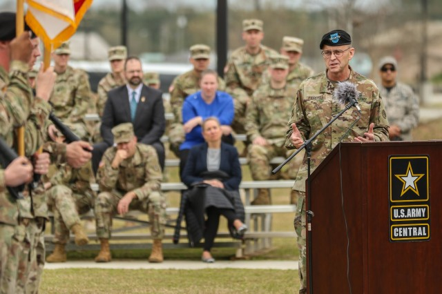 Lt. Gen. Terry Ferrell, commanding general of U.S. Army Central, provides his incoming speech to the attendees of USARCENT's change of command ceremony at Lucky Park, outside of the command's headquarters, Shaw Air Force Base S.C., Mar. 8, 2019. Lt. Gen. Michael X. Garrett relinquished command and control of USARCENT to Ferrell. (U.S. Army photo by. Staff Sgt. Matt Britton / U.S. Army Central)